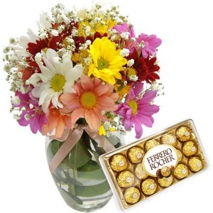 Mini Arranjo com Flores Campestres + Chocolate 12un