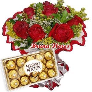 Mini Buquê 6 Rosas Vermelhas + Chocolate 12un